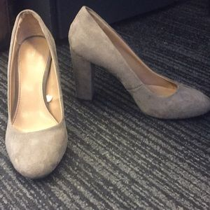 Gray suede pumps
